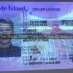 Rhode Island fake id card under blacklight showing the flawless UV design.