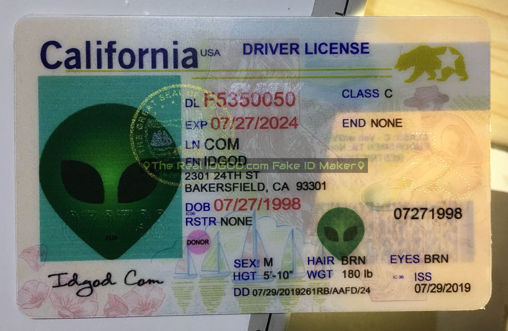 California fake id perforated design with directed light to the back of card