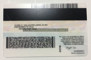 California fake id card scannable backside.