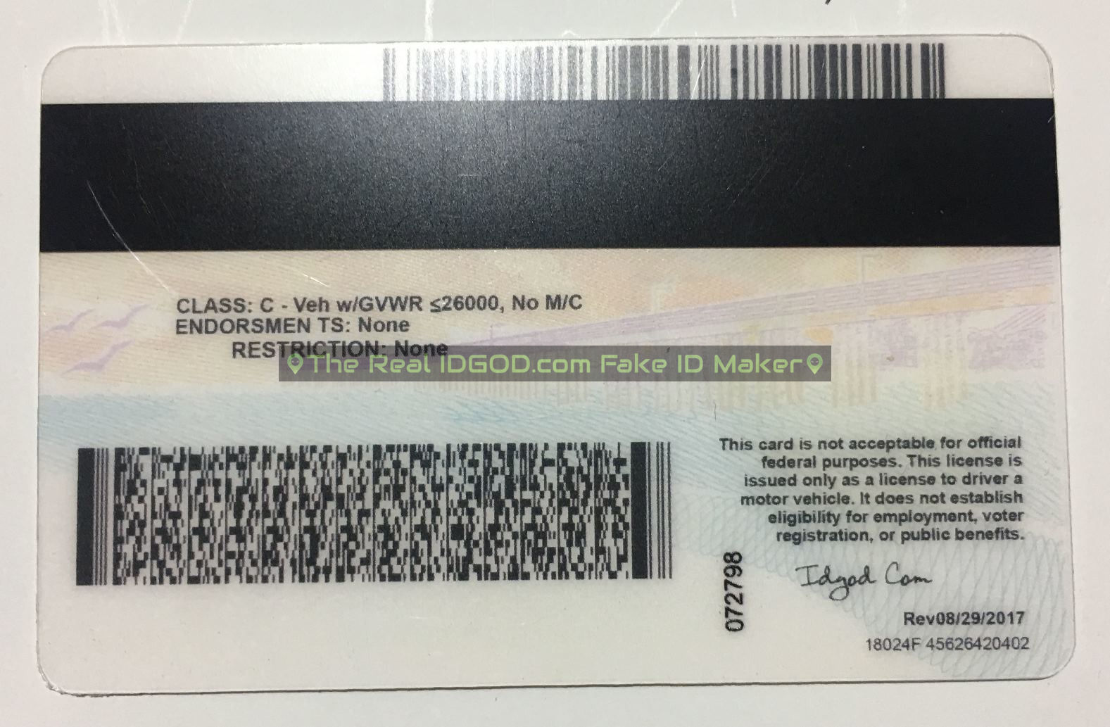 California scannable fake id card backside