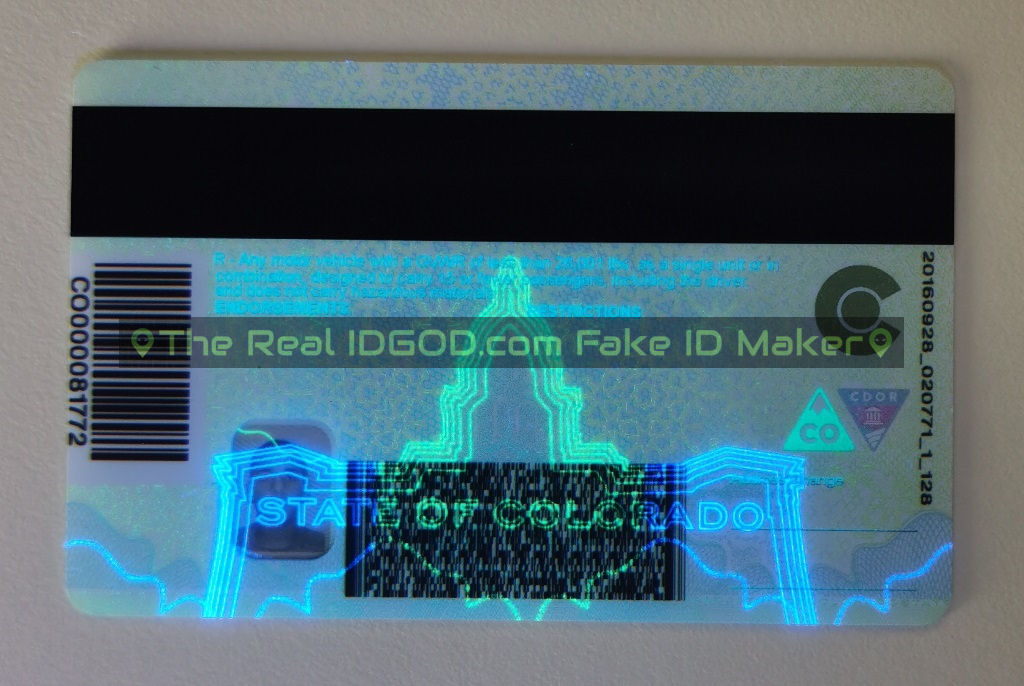 Colorado fake id backside UV under blacklight