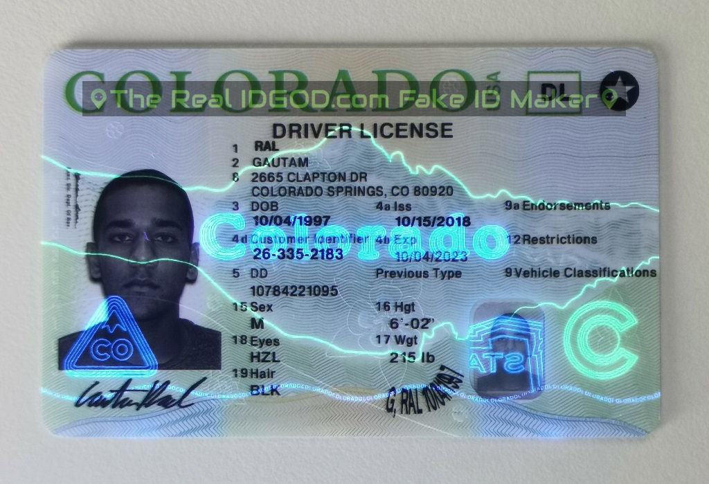 Colorado fake id UV under blacklight