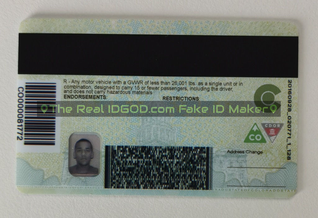 Colorado scannable fake id with encoded magnetic stripe and barcode