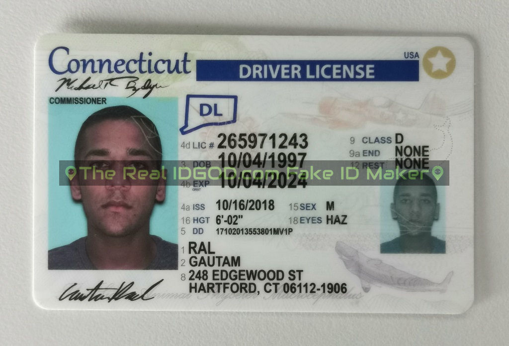 Connecticut fake id card made by IDGod