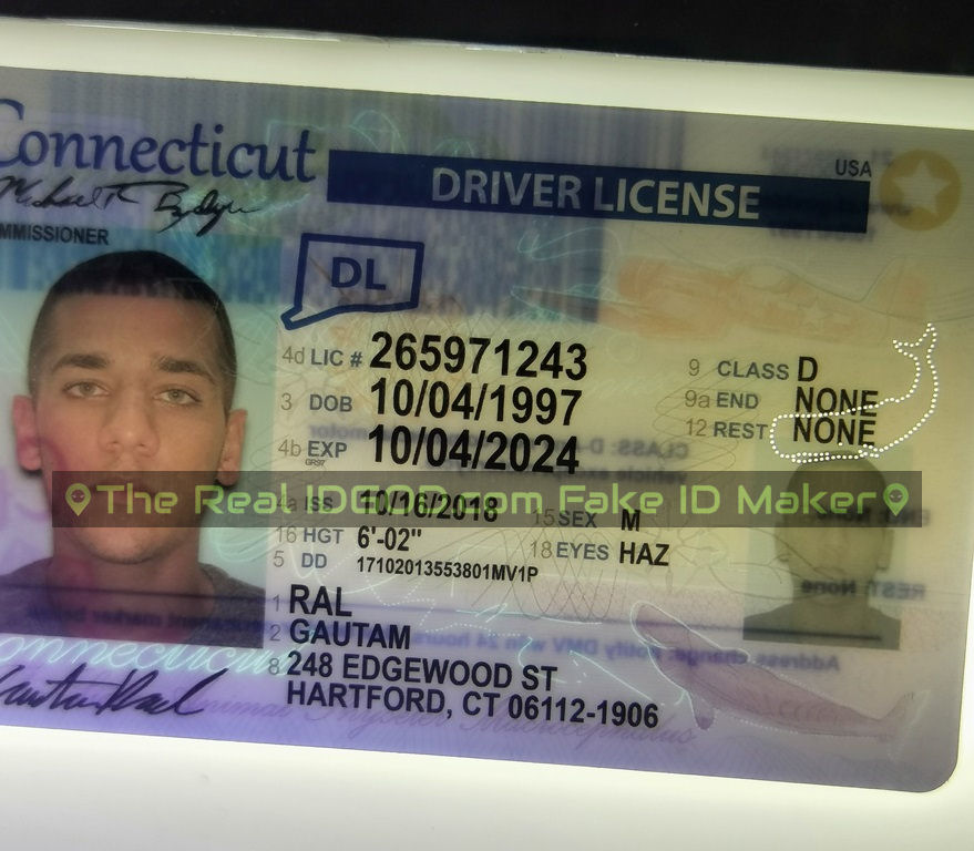 Connecticut fake id perforated design with directed light to the back of card