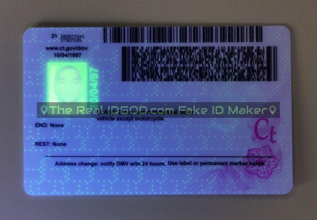 Connecticut fake id card ultraviolet ink design under blacklight