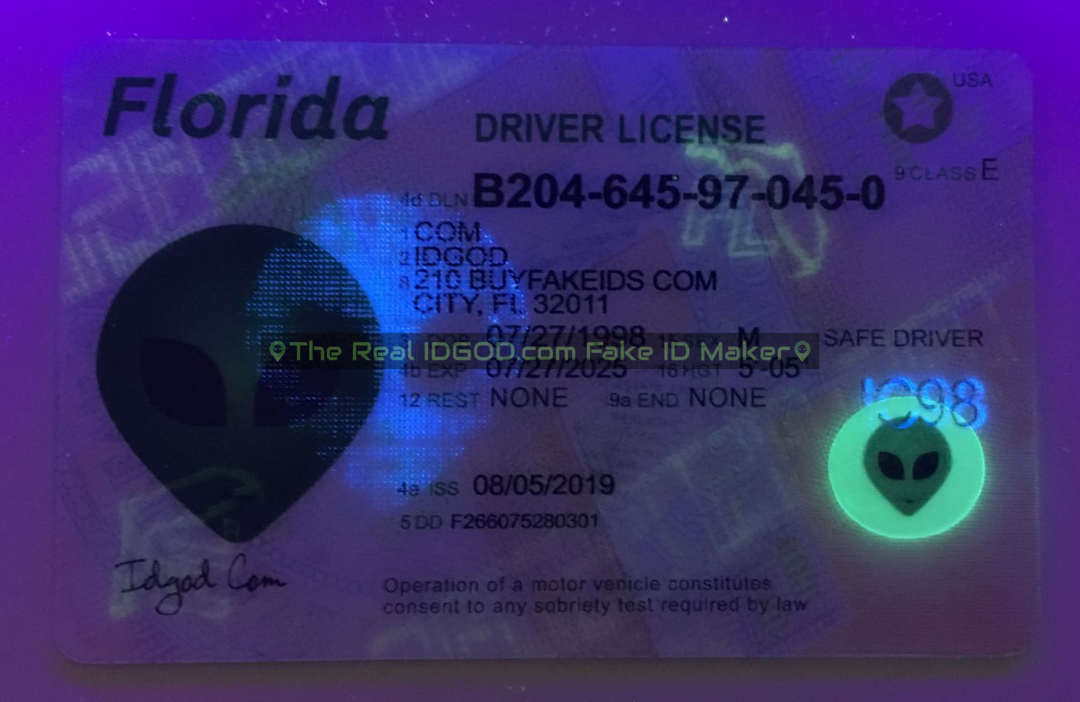 Florida fake id card ultraviolet ink design under blacklight
