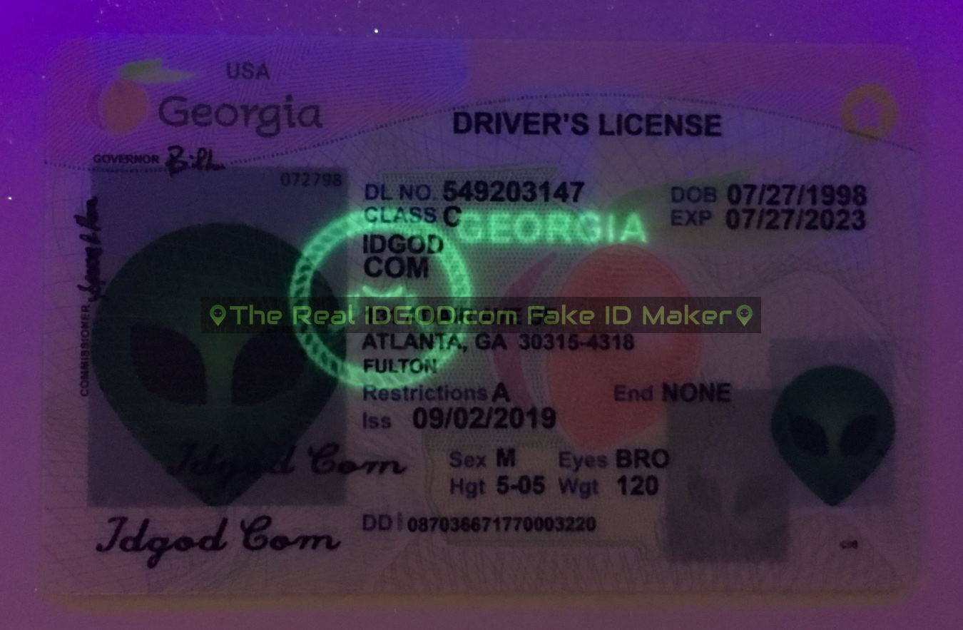 Georgia fake id card ultraviolet ink design under blacklight
