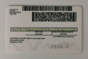 Illinois scannable fake id card backside encoded barcodes