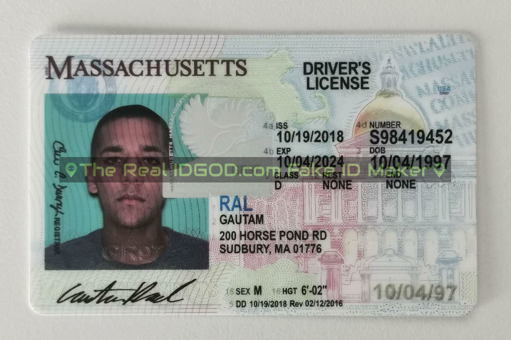 Massachusetts fake id card made by IDGod
