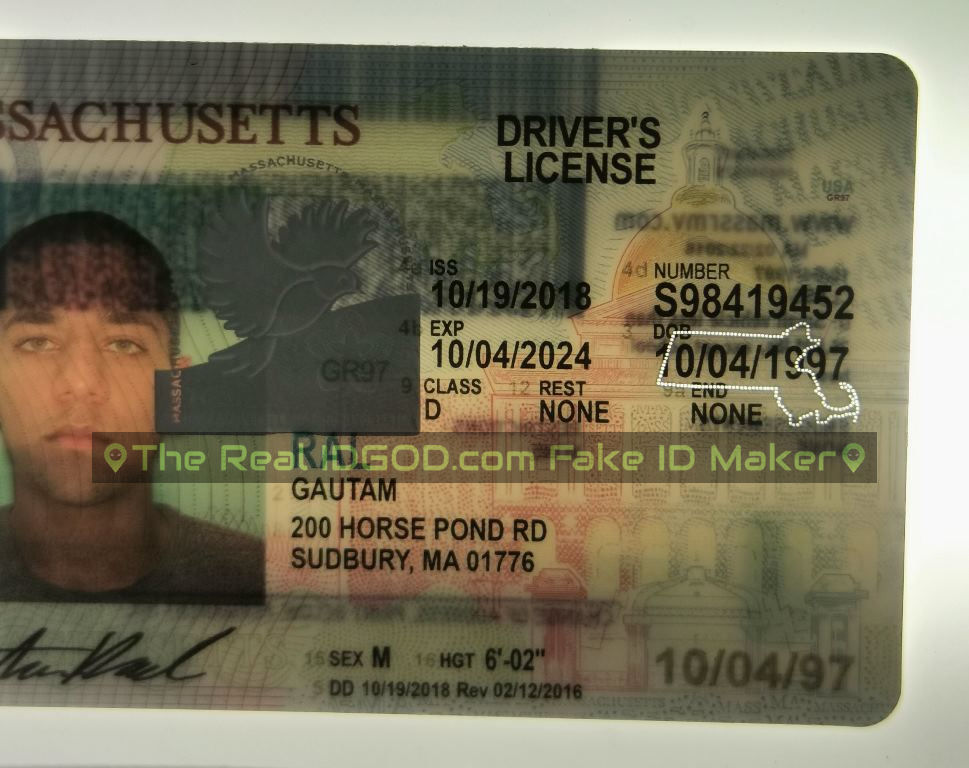 Massachusetts fake id perforated design with directed light to the back of card