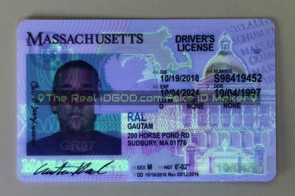 Massachusetts fake id card ultraviolet ink design under blacklight