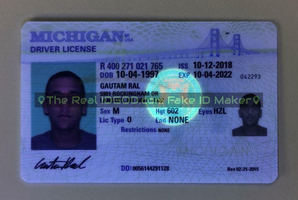 Michigan fake id card ultraviolet ink design under blacklight