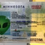 Minnesota fake id perforated design appears with directed light to the back of card made by IDGod.