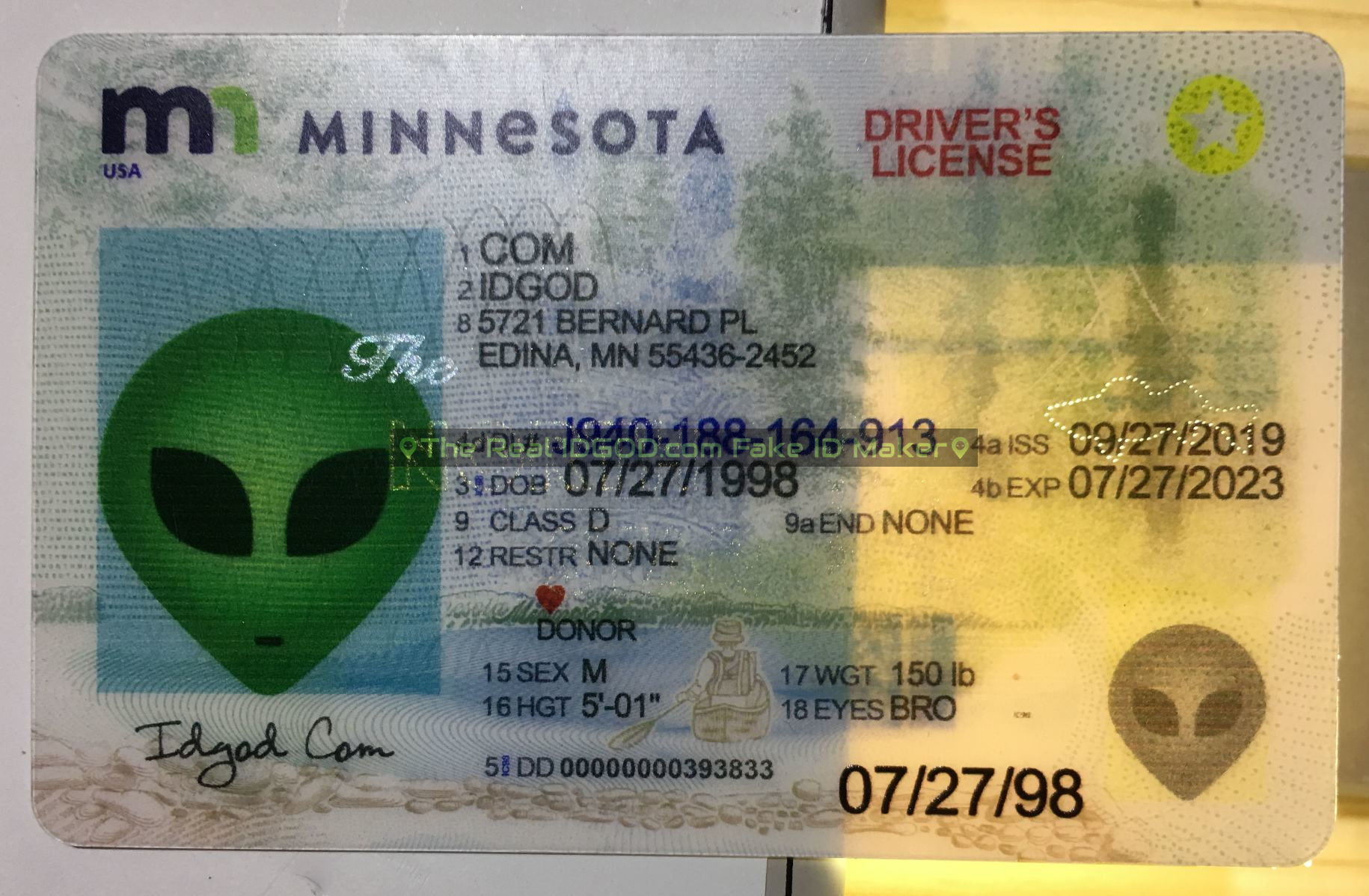 Minnesota fake id perforated design with directed light to the back of card
