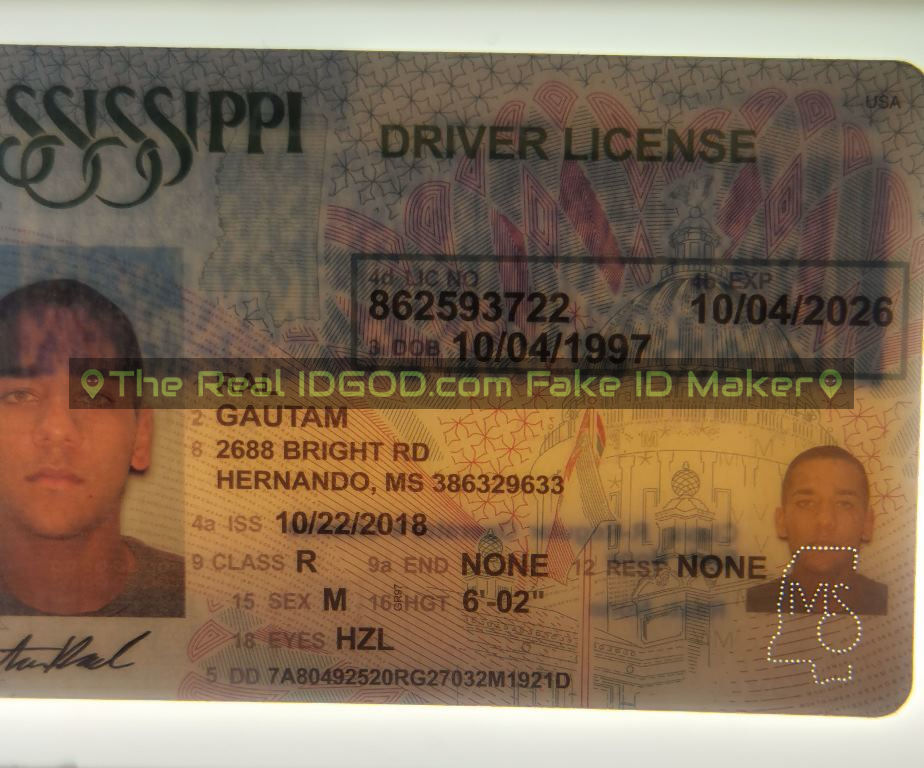 Mississippi fake id perforated design with directed light to the back of card