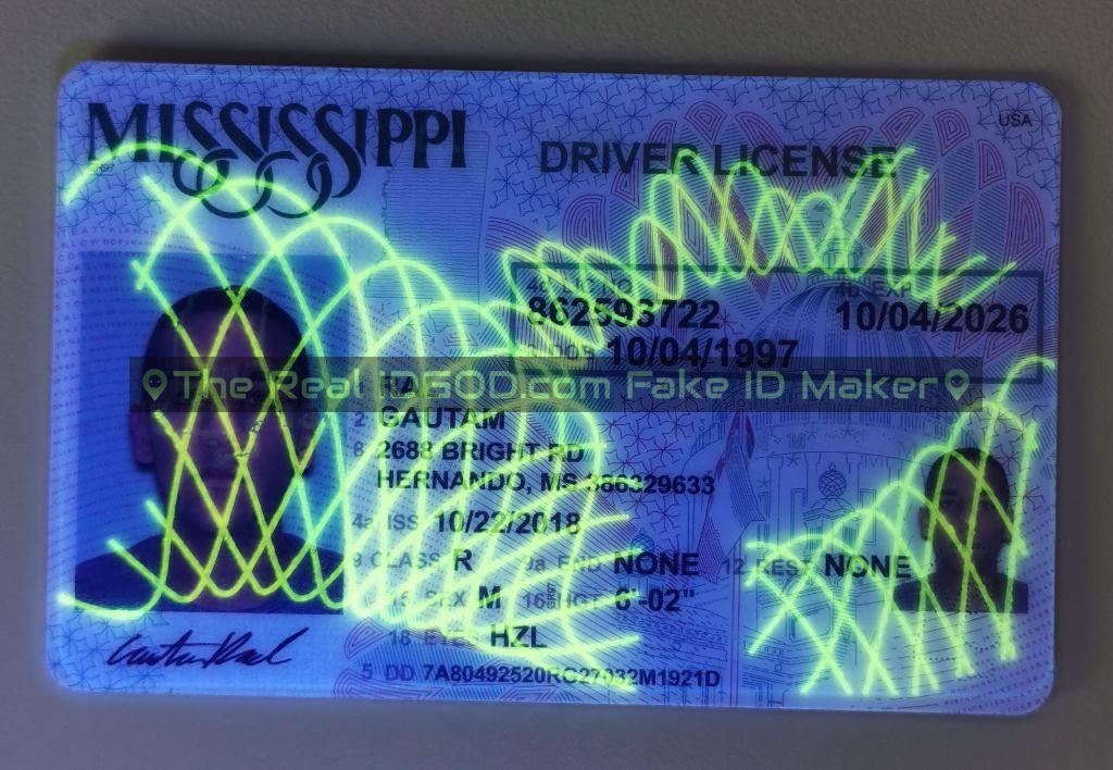 Mississippi fake id card ultraviolet ink design under blacklight