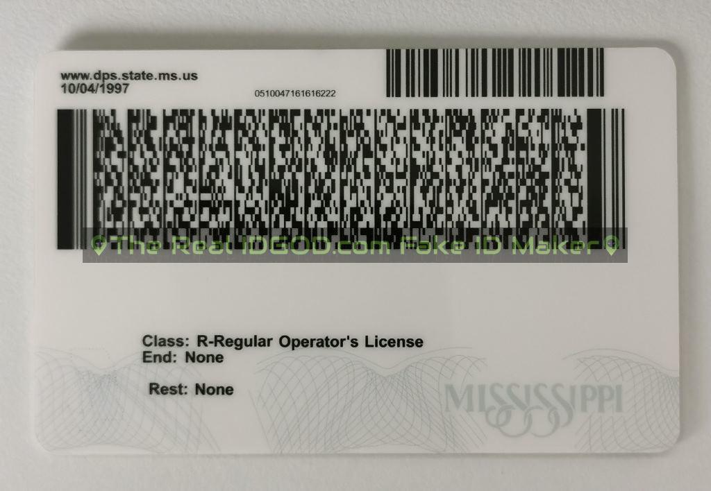 Mississippi scannable fake id card backside