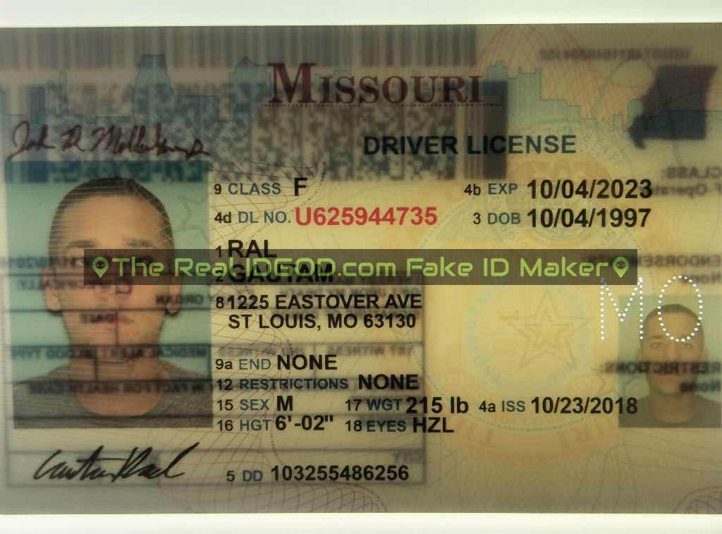 Missouri fake id perforated design with directed light to the back of card