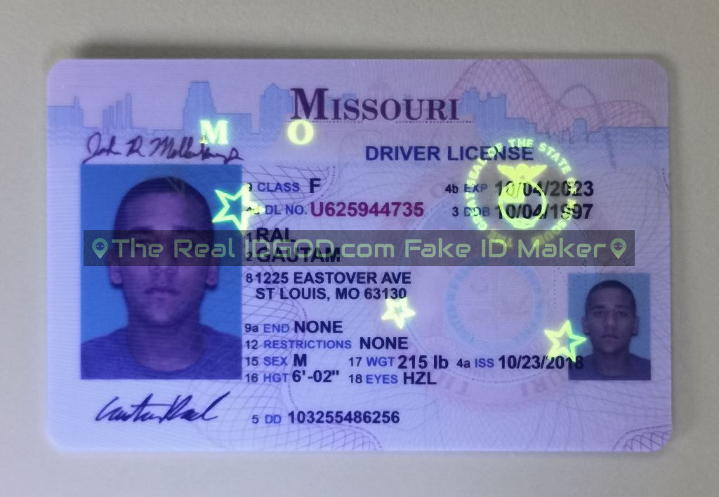 Missouri fake id card ultraviolet ink design under blacklight
