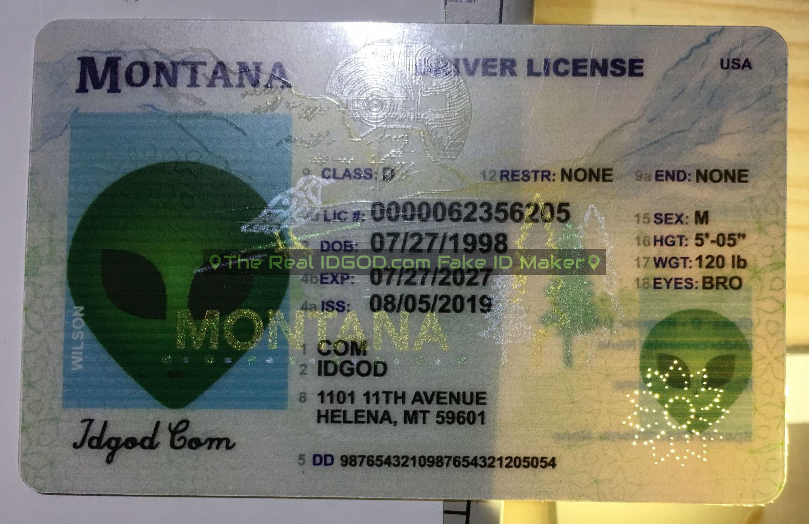 Montana fake id perforated design with directed light to the back of card