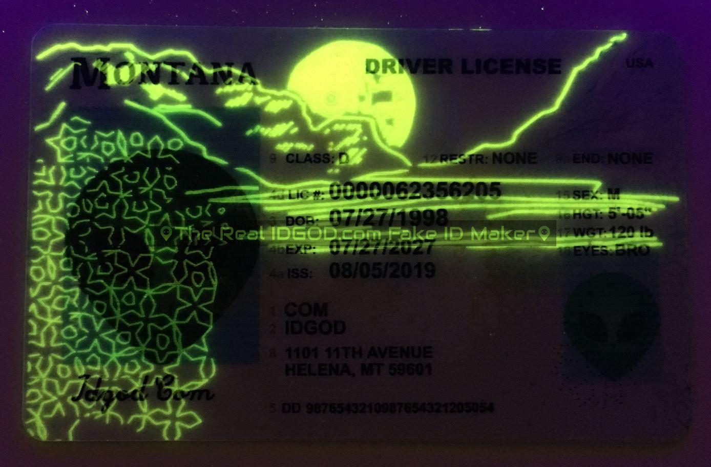 Montana fake id card ultraviolet ink design under blacklight