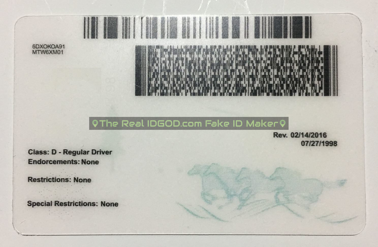 Montana scannable fake id card backside