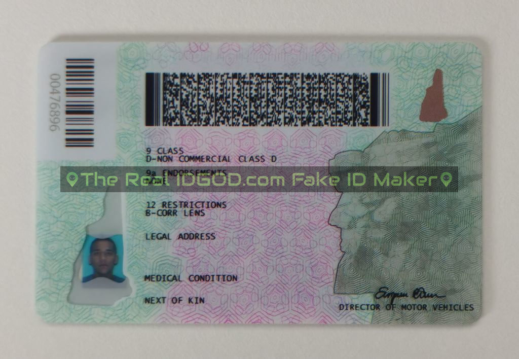 New Hampshire scannable fake id card backside