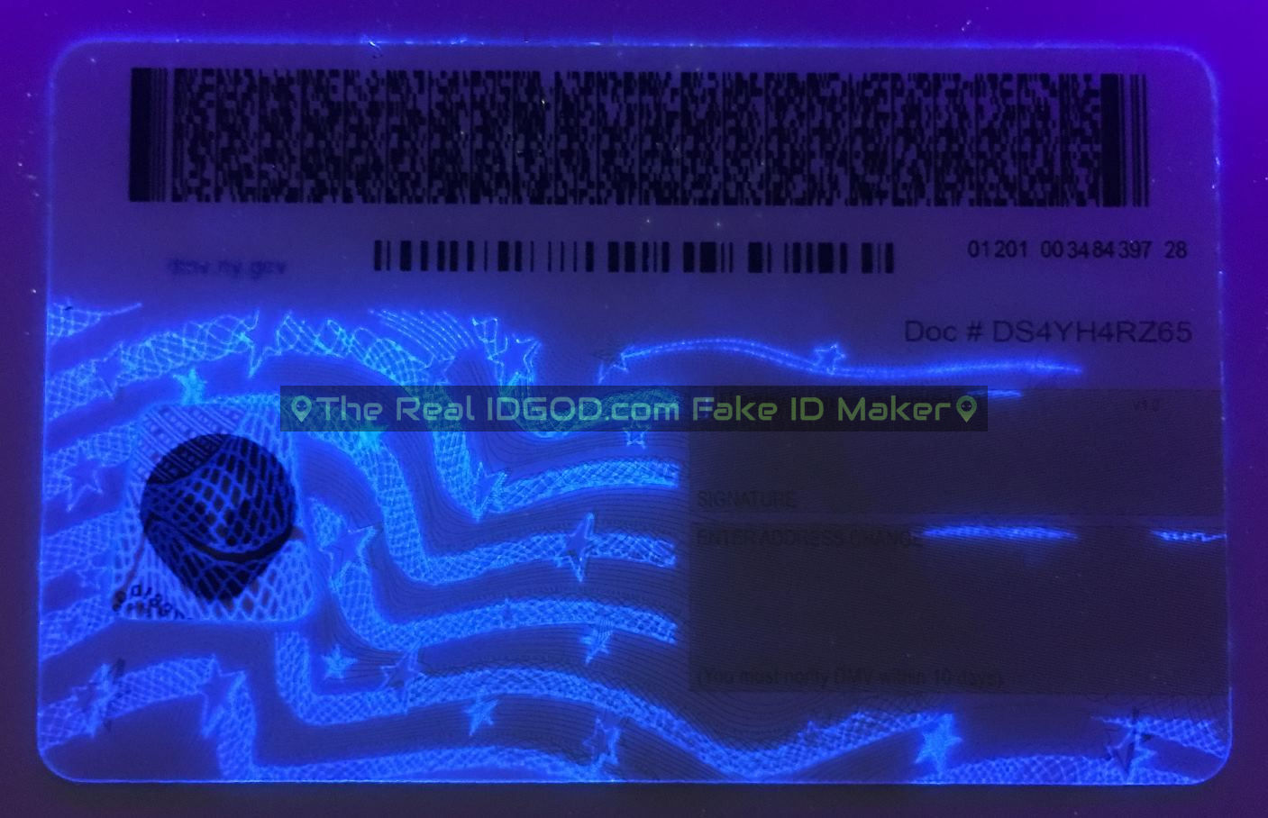 New York fake id card ultraviolet ink design under blacklight
