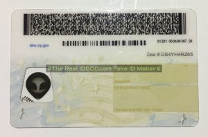 New York scannable fake id card backside with encoded printing of barcodes made by IDGod.