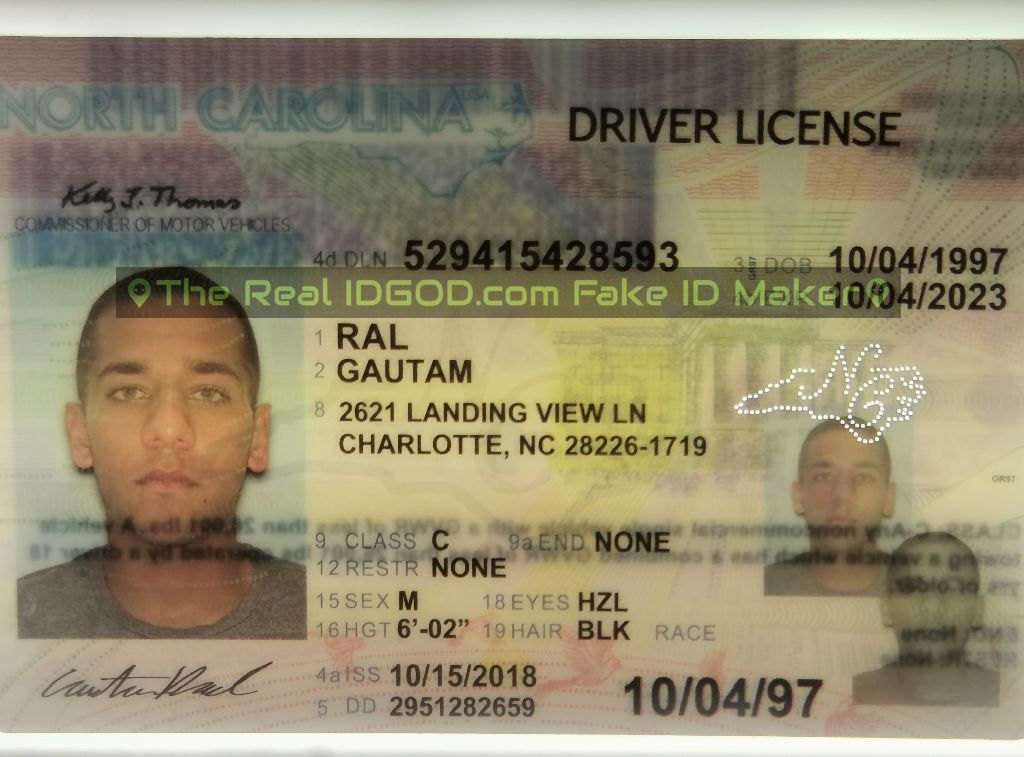North Carolina fake id perforated design with directed light to the back of card