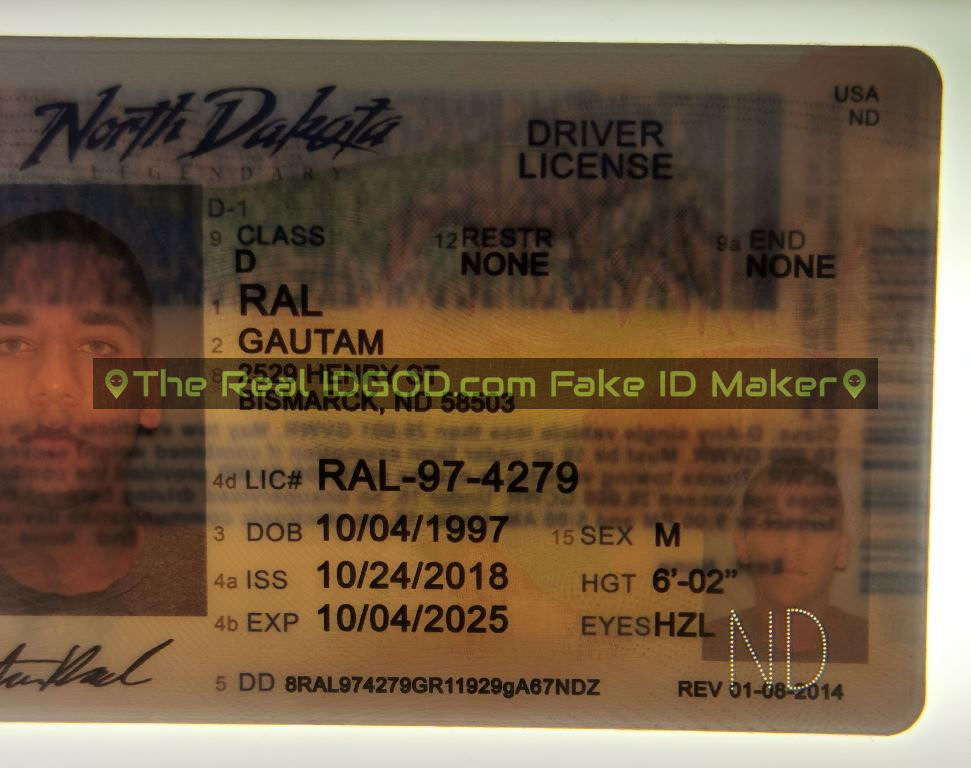 North Dakota fake id perforated design with directed light to the back of card