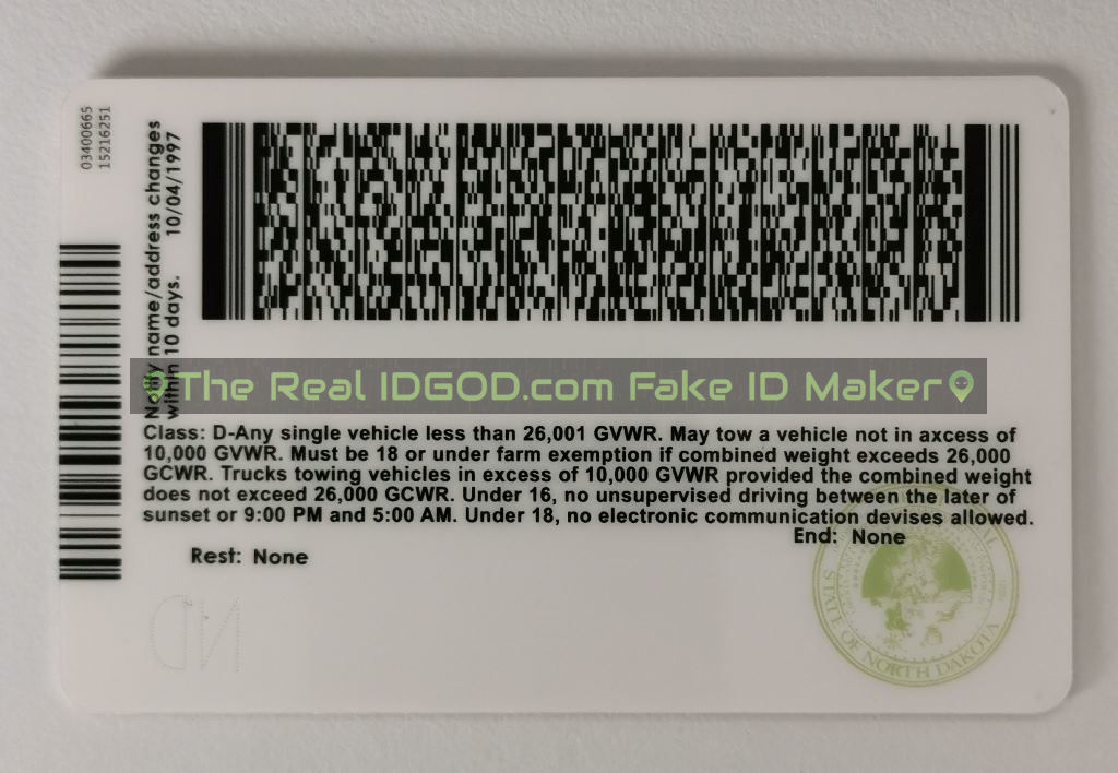 North Dakota scannable fake id card backside