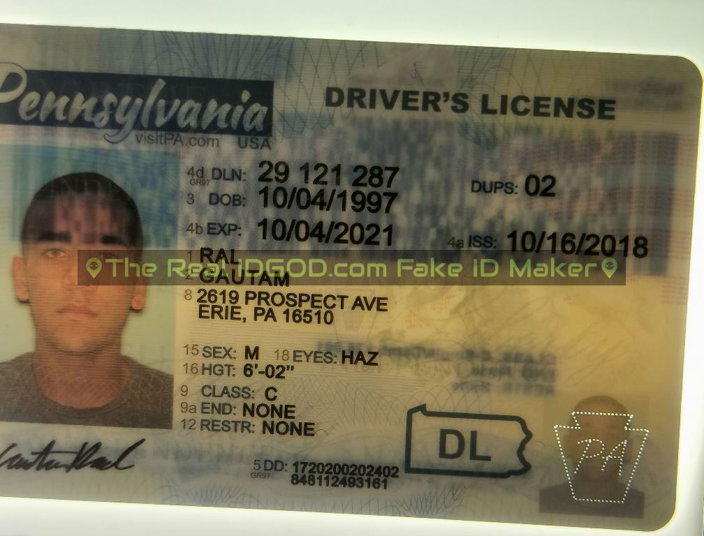 Pennsylvania fake id perforated design with directed light to the back of card