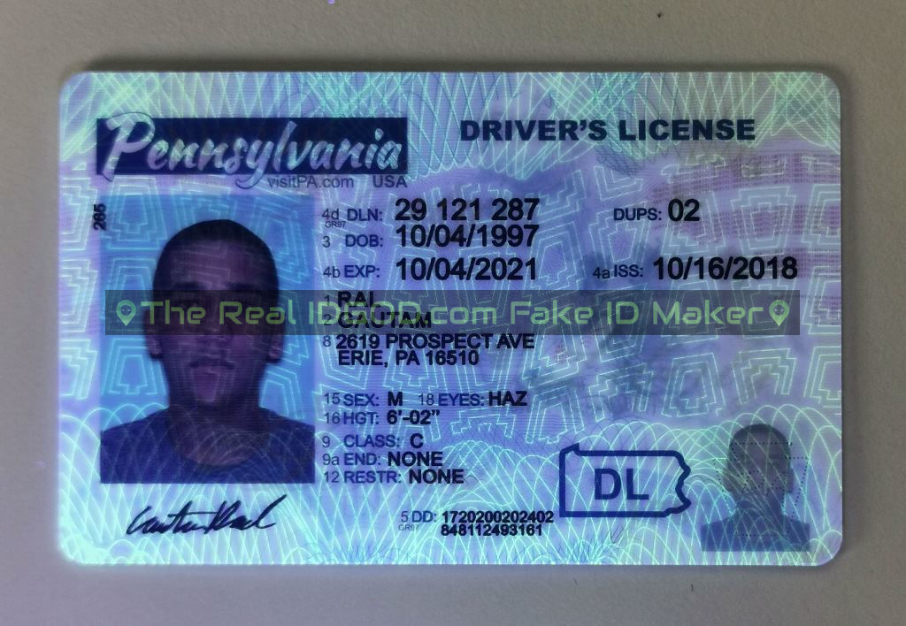 Pennsylvania fake id card ultraviolet ink design under blacklight