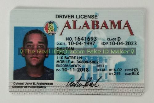 Alabama fake id card video snapshot made by IDGod.