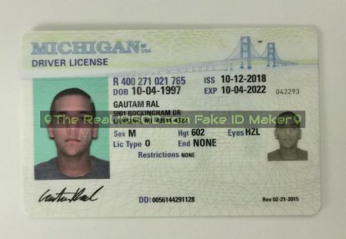 Michigan fake id card video snapshot made by IDGod.