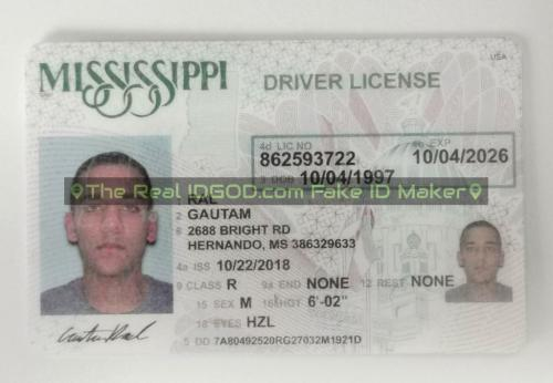 Mississippi fake id card video snapshot made by IDGod.