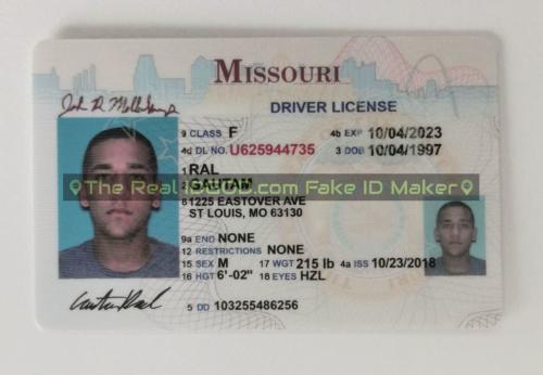 Missouri fake id card video snapshot made by IDGod.