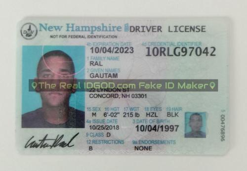 New Hampshire fake id card video snapshot made by IDGod.
