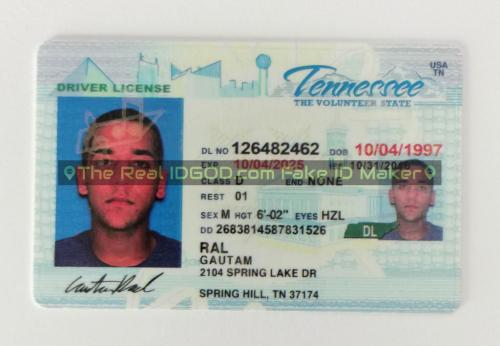 Tennessee fake id card video snapshot made by IDGod.