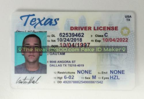Texas fake id card video snapshot made by IDGod.