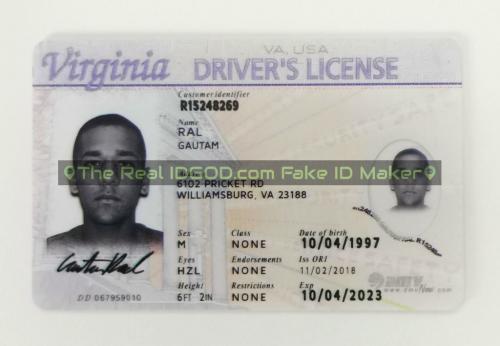 Virginia fake id card video snapshot made by IDGod.
