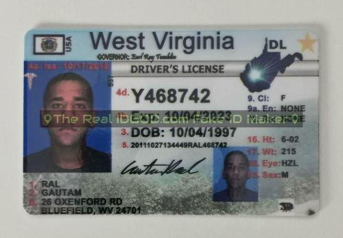 West Virginia fake id card video snapshot made by IDGod.