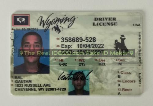 Wyoming fake id card video snapshot made by IDGod.