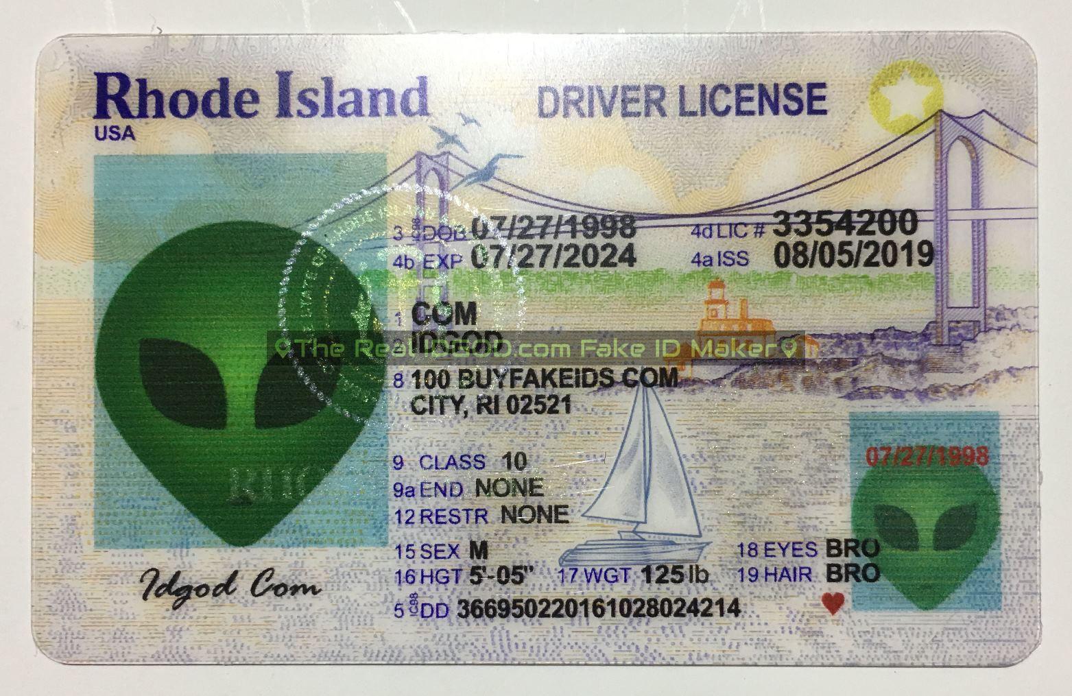 Rhode Island fake id card made by Idgod