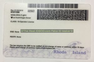 Rhode Island scannable fake id card backside with encoded printing of barcodes made by IDGod.