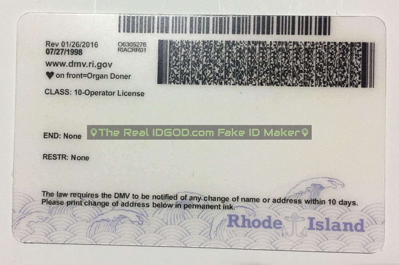 Rhode Island Rhode Island scannable fake id card barcodes