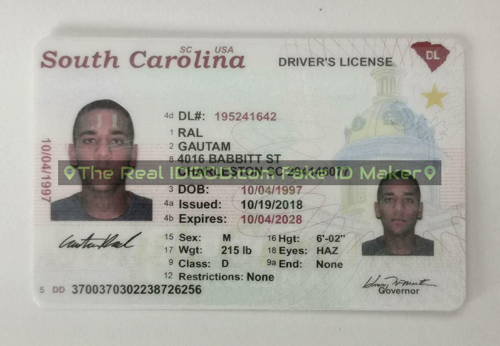 South Carolina fake id card made by IDGod