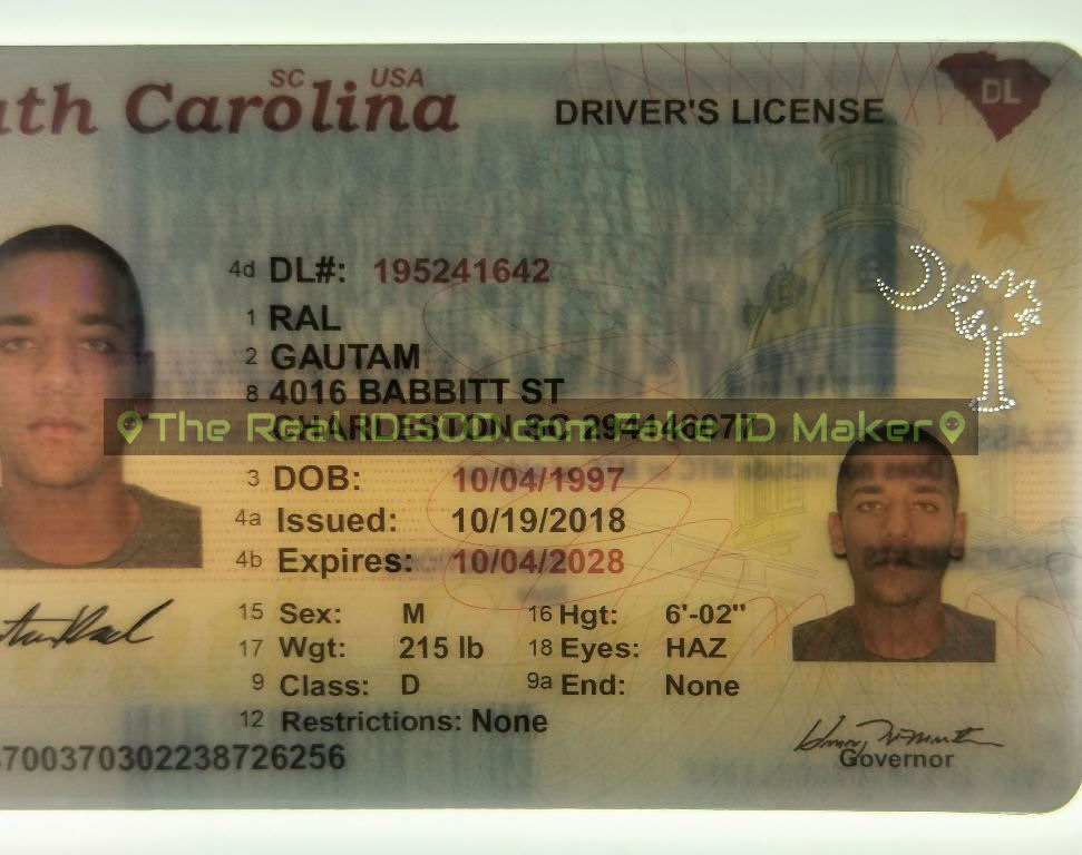 South Carolina fake id perforated design with directed light to the back of card